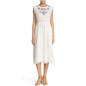 Rebecca Taylor Embroidered Eyelet Midi Dress